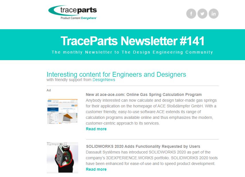 TraceParts newsletter