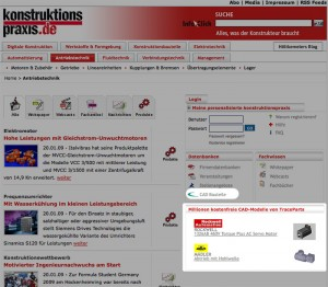 """In the category """"Databases"""" visitors of the Konstruktionspraxis-Portal can directly browse the millions of available parts in the tracepartsonline.net parts library and download them for free"""