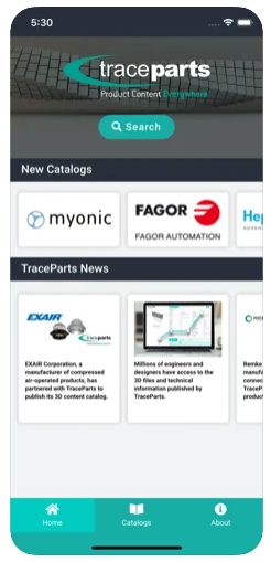 Home Page - TraceParts Mobile