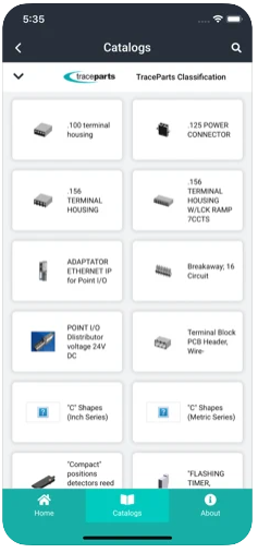 TraceParts Mobile - List of catalogs - TraceParts classification